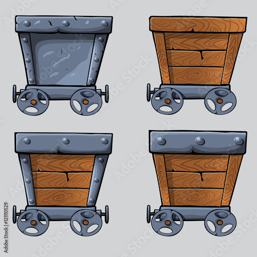 Quot wooden mine cart set stock image and royalty free vector