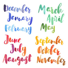 Watercolor months names