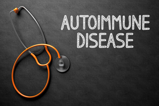 Chalkboard with Autoimmune Disease Concept. 3D Illustration.