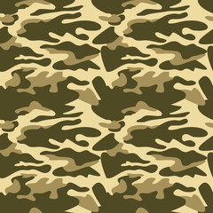 Camouflage pattern background seamless vector illustration. Classic clothing style masking camo repeat print. Green khaki olive colors forest texture
