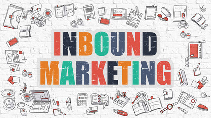 Inbound Marketing Concept. Multicolor on White Brickwall.
