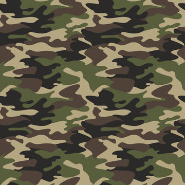 Camouflage pattern background seamless vector illustration. Classic clothing style masking camo repeat print. Green brown black olive colors forest texture