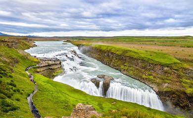 Türaufkleber Wasserfalle Gullfoss Waterfall in the canyon of Hvita river - Iceland