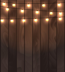 Vector illustration of wooden planks background with lighting garland festive decoration, with strings of round lamps.