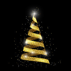 Fir tree, 3d ribbon with golden glitter effect and shining lights, festive christmas or new year design. Vector illustration.