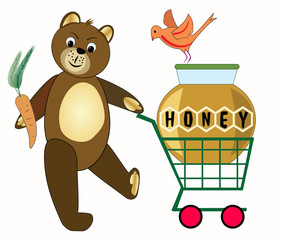 Teddy bear buying honey. Teddy bear with cart. Teddy bear shopping. Teddy bear with carotte. Teddy bear and orange bird.