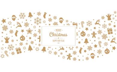 merry christmas tpye gold decoration ornaments border