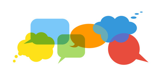 Colorful speech bubbles set on white background. Talk and think bubbles. Blue, green, yellow, red and orange icons.