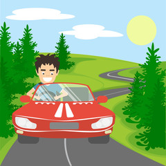 Happy handsome smiling man driving red car on picturesque background. Green trees, long road, sun and blue sky with clouds.