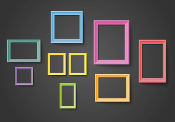 Blank colorful frame set isolated on wall Vector