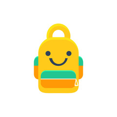 School Backpack Primitive Icon With Smiley Face
