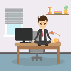 Meditation at work. Businessman sitting in lotus pose and meditating. Relaxation at workplace. Zen pose.