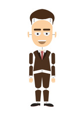 Body parts businessman. Funny cartoon construction of businessman on white background. Body parts are separate from body.