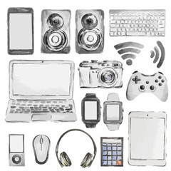 Watercolor device set. All kinds of modern gadgets as laptop, camera, smartphone, player, headphones and more.