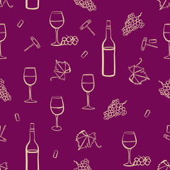 Seamless wine vector pattern with freehand drawings