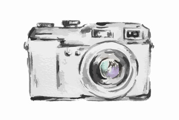Isolated watercolor camera on white background. Simple photo camera. Vintage art.