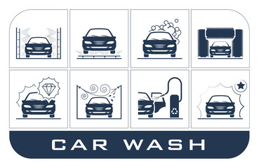 Set of car washing icons. Collection of very useful icons presenting equipment used for car wash.