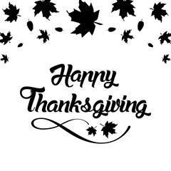 """Thanksgiving greeting card with """"Happy Thanksgiving"""" lettering t"""