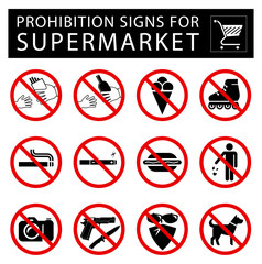 Set of prohibition signs for supermarket.