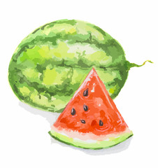 Isolated watercolor watermelon on white background. One whole green watermelon and red slice with black seeds. Juicy and sweet fruit.
