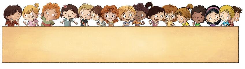 grupo de niños con rotulo