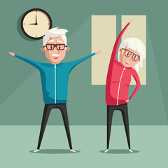 Senior people and gymnastics. Cartoon vector illustration