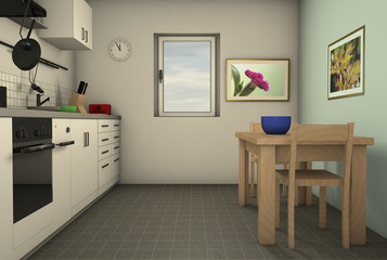 a homely kitchen with utensils (3d rendering)