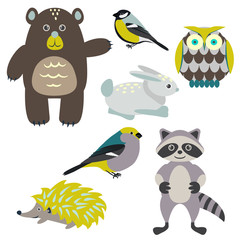 Forest cartoon animals isolated on white for kids. Brown bear, birds, green hedgehog, green owl, gray racoon and blue bunny.