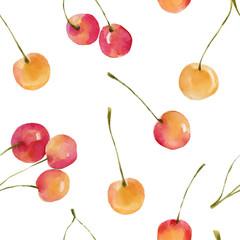 Watercolor cherries seamless pattern.