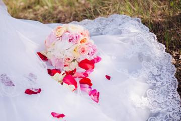 Bride's bouquet in her hands