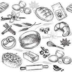 cooking seamless pattern bakery