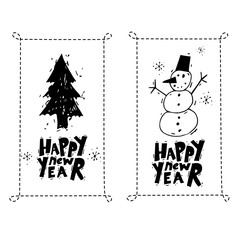 Merry Christmas and Happy New Year. Xmas Poster, banner, printed matter, greeting card. Lettering, calligraphy. Snowman, Christmas tree. Hand-drawn, lino-cut. Flat design vector illustration.