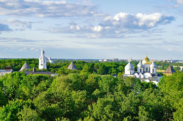 Birds eye view of St Sophia Cathedral with the belfry in the park of Novgorod Kremlin in Veliky Novgorod, Russia.