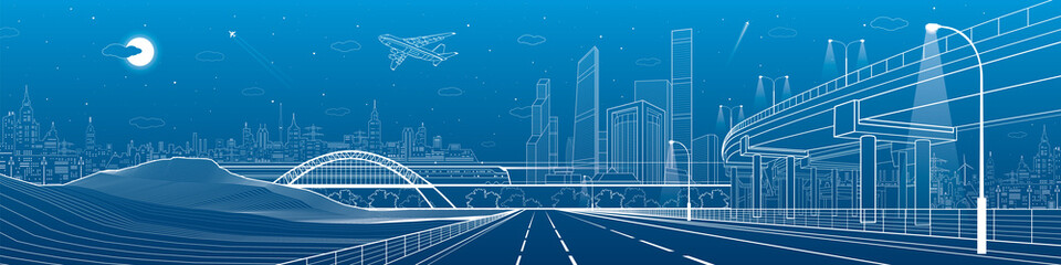 Wall Mural - Infrastructure panorama. Car overpass, city skyline, urban scene, plane takes off, train move, transport illustration, mountains, white lines on blue background, vector design art