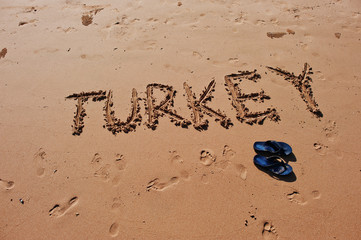 """Turkey"" written in the sand on the beach"