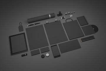 Obraz Dark black set of branding 3D illustration mockup template - fototapety do salonu
