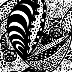 Seamless zentangle doodle wallpaper design, rough black and white vector background