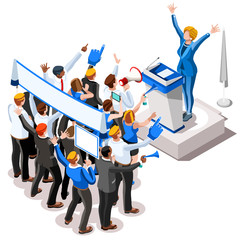Election Infographic Convention Crowd Vector Isometric People