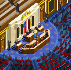 Us Election 2016 infographic. Parliament hall congress debate icon. Usa symbol presidential speech. Convention congress tribune. President lecture auditorium audience flat vector isometric concept