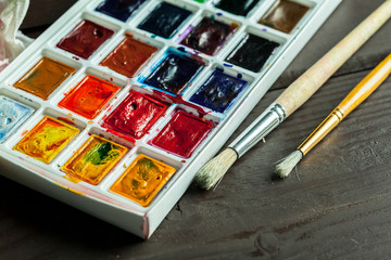 Set of watercolor paints and paintbrushes for painting