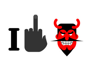 I hate Satan. Fuck and red devil with horns. Emblem for lovers o