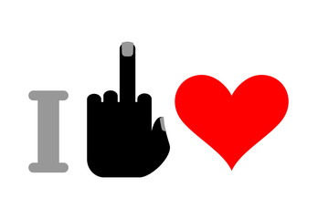 I hate love. Fuck and heart. Logo for unfortunate love