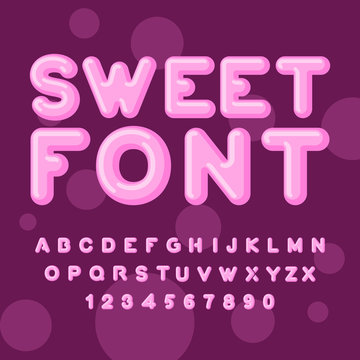 Sweet font. Pink letters. Lollipops lettring. ABC of caramel. Ca