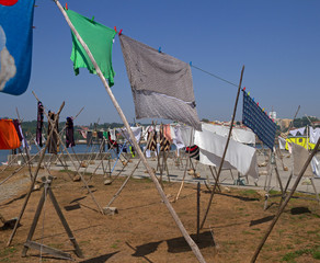 Drying laundry on the banks.