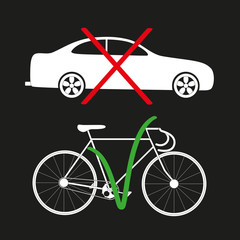vector illustration of the refusal of the car and the choice of bicycle