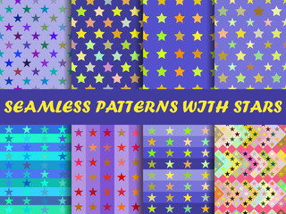 Seamless with colorful stars. Templates for fabric. Vector illustration.