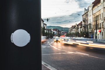 Bluetooth Beacon deployed in a Smart City / Cluj-Napoca, Romania – September 19, 2016: A Bluetooth Beacon device installed on a bus stop, to digitally guide passengers.