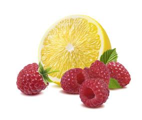 Lemon raspberry isolated on white background