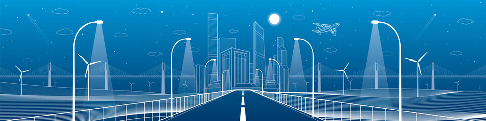 Wall Mural - Infrastructure panorama. Highway. Road lighting lanterns. Business center, architecture and urban illustration, neon city, white lines composition, skyscrapers and towers, vector design art