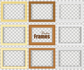 Set of realistic frames with shadow isolated on the wall. Vector illustration